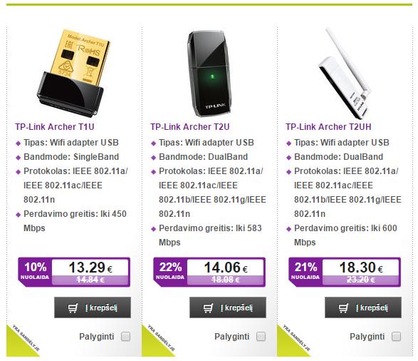 Pigus WiFi USB adapteris kompiuteriui, palaikantis 2.4Ghz ir 5Ghz 2