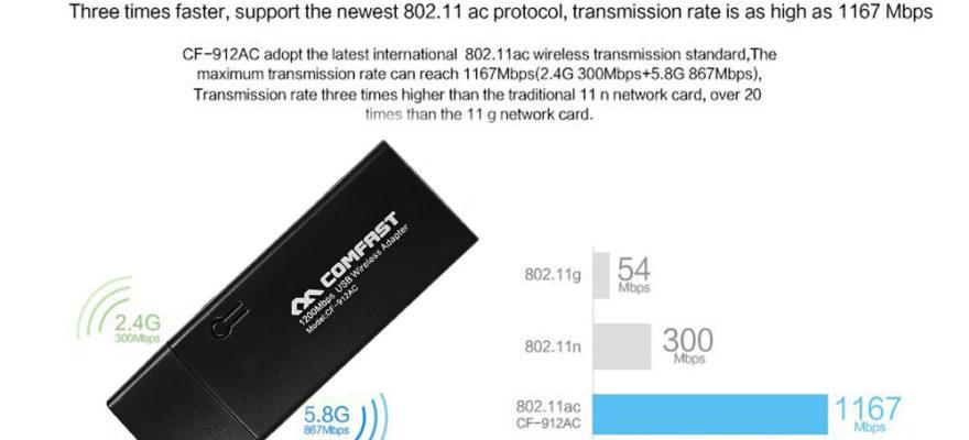 Pigus WiFi USB adapteris kompiuteriui, palaikantis 2.4Ghz ir 5Ghz 15