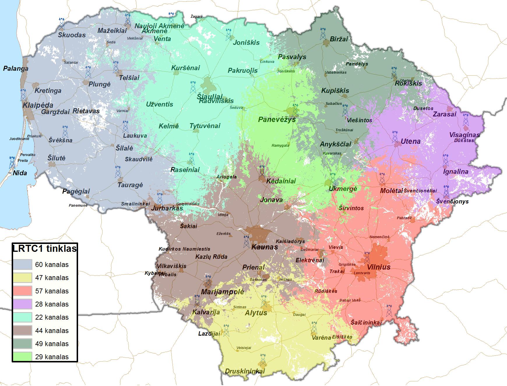 LRTC pateiktas bokštų žemėlapis